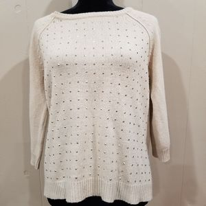 Ann Taylor Tan Gold Studded Sweater - P Large